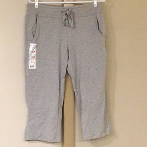 Eddie Bauer Capri Sweatpants Gray Large New NWT